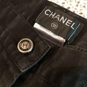 CHANEL Black Wide Leg Denim Pants